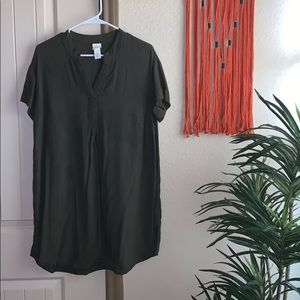 Dark green T shirt dress
